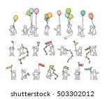 Cartoon icons set of sketch little people with party symbols. Doodle cute miniature scenes of workers with balloons, flags. Hand drawn vector illustration for celebration.