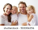 portrait of happy young family... | Shutterstock . vector #503306356