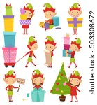 santa claus kids cartoon elf... | Shutterstock .eps vector #503308672