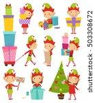 santa claus kids cartoon elf... | Shutterstock .eps vector #503308672