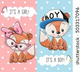 Stock vector baby shower greeting card with foxes boy and girl 503317096