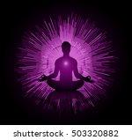 man meditate dark blue abstract ... | Shutterstock .eps vector #503320882