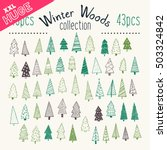 Bundle of hand illustrated Christmas trees. Every single tree with its own decoration. Perfect collection for greeting cards, backgrounds or wrapping paper designs.