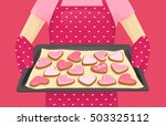 baking tray with heart shape...   Shutterstock .eps vector #503325112