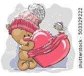 cute cartoon teddy bear in a...   Shutterstock .eps vector #503329222