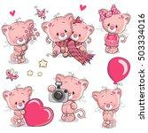 set of cute cartoon kitten on a ... | Shutterstock .eps vector #503334016