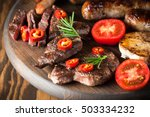 close up photo of mixed grilled ... | Shutterstock . vector #503334232