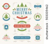 christmas labels and badges... | Shutterstock .eps vector #503335462