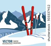 ski background  mountains in... | Shutterstock .eps vector #503337412