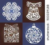 set of openwork christmas... | Shutterstock .eps vector #503339188