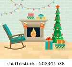 living room with rocking chair  ... | Shutterstock .eps vector #503341588