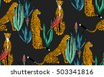 seamless leopard in different... | Shutterstock .eps vector #503341816