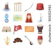 Turkey Set Icons In Cartoon...