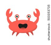 Cute Cartoon Crab Isolated On...