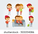 people at christmas style  | Shutterstock .eps vector #503354086