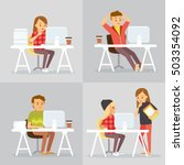 freelance workers at co working ... | Shutterstock .eps vector #503354092