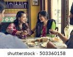 indian community eating... | Shutterstock . vector #503360158