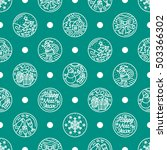 pattern of flat line icons on... | Shutterstock .eps vector #503366302
