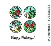 set of flat line icons on the... | Shutterstock .eps vector #503366386