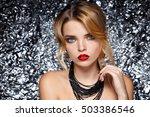 fashion girl portrait  on a... | Shutterstock . vector #503386546