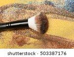 soft cosmetics brush on golden... | Shutterstock . vector #503387176