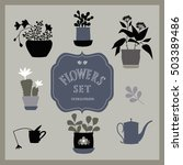 set of silhouettes of flowers...   Shutterstock .eps vector #503389486