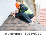 roofer builder worker... | Shutterstock . vector #503395732