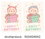 happy birthday cards with cute... | Shutterstock .eps vector #503404042
