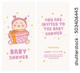 baby shower invitation cute girl | Shutterstock .eps vector #503406445