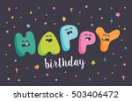 funny letters happy birthday... | Shutterstock .eps vector #503406472