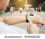 woman checking heart rate... | Shutterstock . vector #503408182