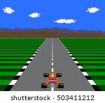 8 bit pixel retro race game | Shutterstock .eps vector #503411212
