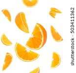 Falling orange and orange slices. Isolated on a white background.