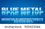 3d alphabet vector blue colored ... | Shutterstock .eps vector #503425366