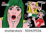 pop art stickers illustrations. ... | Shutterstock .eps vector #503429536