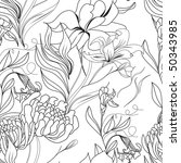 monochrome seamless pattern | Shutterstock .eps vector #50343985
