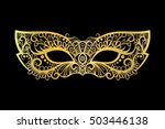 golden carnival mask on the... | Shutterstock .eps vector #503446138