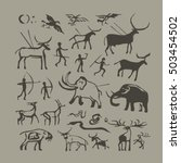 vector rock painting. cave man... | Shutterstock .eps vector #503454502