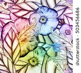 floral watercolor seamless... | Shutterstock . vector #503456686