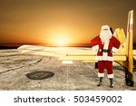 santa claus and yellow small... | Shutterstock . vector #503459002