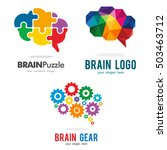 Stock vector brain genius idea gear puzzle polygon logo icon template set 503463712