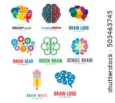 Stock vector brain genius idea pencil puzzle gear green logo icon template set 503463745
