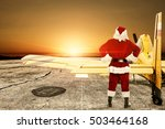 red santa claus and yellow... | Shutterstock . vector #503464168