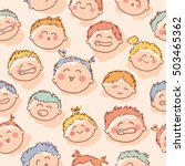 colorful cute child heads... | Shutterstock .eps vector #503465362