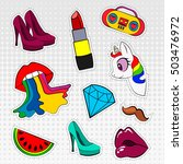 vector icons set of stickers in ... | Shutterstock .eps vector #503476972