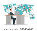 businessman connected with his... | Shutterstock .eps vector #503486446