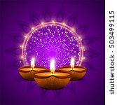 colorful happy diwali background | Shutterstock .eps vector #503499115