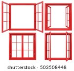 collection of red window frames ... | Shutterstock . vector #503508448