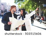 stylish woman tourist ask her...   Shutterstock . vector #503515606