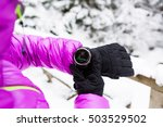 woman hiker checking the... | Shutterstock . vector #503529502